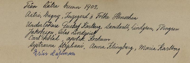 Sätra Brunn. Från Sätra Brunn 1902. Bl a syskonen Henschen. Text..jpg