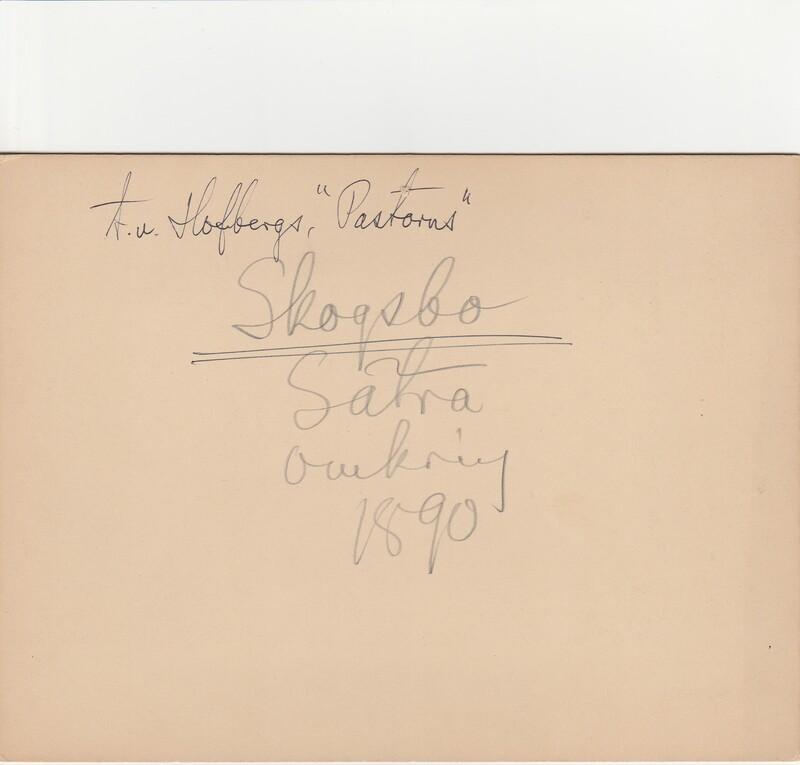 Sätra Brunn. Skogsbo. T. v. Hofbergs. Årtal 1890-t. Storlek 220x160 mm. T.v. Hofbergs.  Skogsbo Sätra omkring 1890. Text..jpg