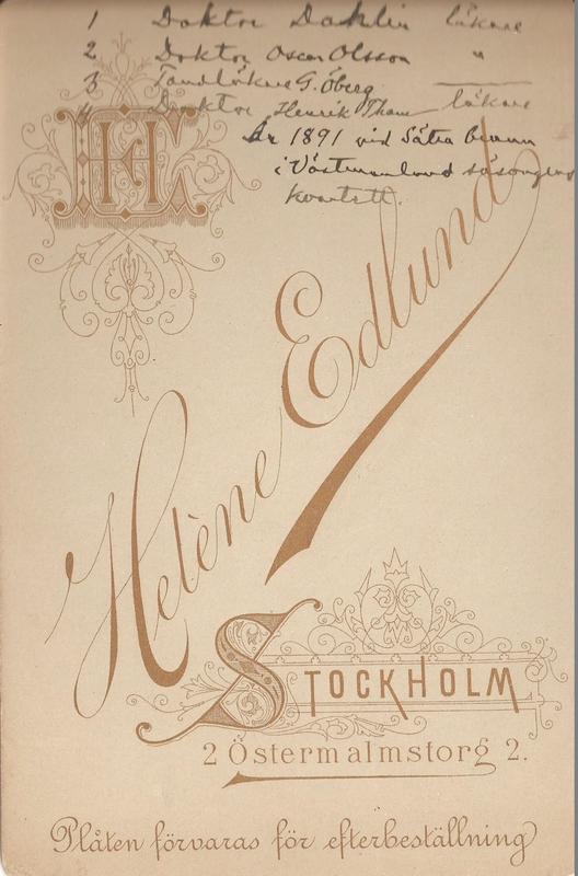 Sätra Brunn. År 1891. Doktor Dahlin. Doktor Oscar Olsson. Tandläkare G. Öberg. Doktor Henrik Tham. Säsongens kvartett. Text..jpg