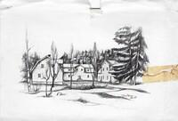 Sätra Brunn. Skogsgården feb 1925. Tryckt teckning..jpg